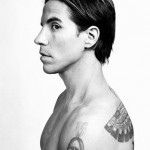 Anthony Kiedis black & white of sideways profile
