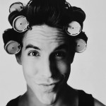 Anthony Kiedis black & white photo of him in hair curlers rollers