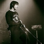 Anthony Kiedis black & white photo on stage