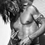 Anthony Kiedis black & white portrait topless oozing sex appeal