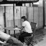 Anthony Kiedis black & white at picnic table