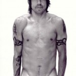 Topless Anthony Kiedis black & white photo of him with arms by his sides