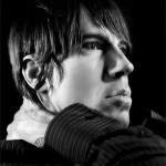 Anthony Kiedis black & white photo of side of head