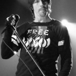 Anthony Kiedis black & white photo of him singing live