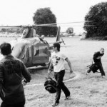 Anthony Kiedis black & white photo of him leaving the helicopter at Slane Castle