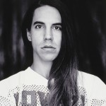 young Anthony Kiedis in a jersey black & white photo