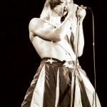 Anthony Kiedis black & white of him live in stars and stripes shorts