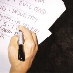 Anthony Kiedis writing out set list handwriting