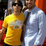 Anthony Kiedis Lakers game LA with Guy Oseary