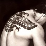 Anthony Kiedis back tattoo eagle falcon Inca tribal native American design