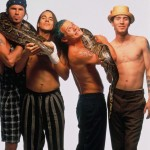 RHCP Anthony Kiedis, Chad Smith and Flea with a snake boa python
