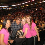 Anthony Kiedis Lakers game LA with the girls in pink