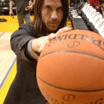 Anthony Kiedis Lakers game LA holding ball