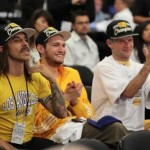 Anthony Kiedis Lakers game LA with Josh Klinghoffer RHCP