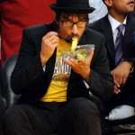 Anthony Kiedis Lakers game LA eating