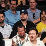 Anthony Kiedis Lakers game LA with Leonardo DiCaprio
