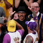 Anthony Kiedis Lakers game LA high five