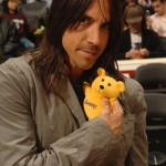 Cute Anthony Kiedis Lakers game LA holding yellow teddy bear