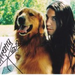 Anthony Kiedis with ling hair and dog autographed photo