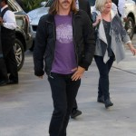 Anthony Kiedis arriving at Lakers game LA in purple t-shirt