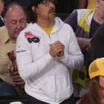 Anthony Kiedis Lakers game LA wearing white jacket