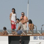 anthony kiedis on yatch red shorts