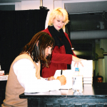 Anthony-Kiedis signing Scar Tissue in New York; taken by Blackie Dammett