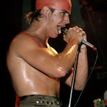 sweating Anthony Kiedis red swimming cap Irving Plaza 1984