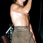 oiled Anthony Kiedis brown skirt Irving Plaza 1984