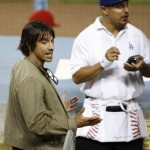 Musician Anthony Kiedis of The Red Hot Chili Peppers is seen as the Los Angeles Dodgers play the Philadelphia Phillies in Game 5 of Major League Baseball's NLCS playoff series in Los Angeles
