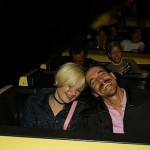 Anthony Kiedis with Yohanna Logan on a rollercoaster