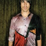 Anthony kiedis RHCP multi-colored shirt front arms by side