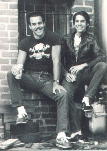 anthony Kiedis sat on steps with father Blackie Dammett