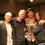 Anthony Kiedis with other members of RHCP: Anthony Kiedis, Flea and Chad Smith at KROQ LA 4th November 2010