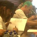 Anthony Kiedis with other members of RHCP: Anthony Kiedis and Flea signing Official Biography LA 4th November 2010