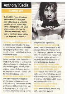 Magazine article scan with Anthony Kiedis talking about his autobiography Scar Tissue