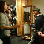Anthony Kiedis Red Hot Chili Peppers backstage in wardrobe with Frusciante and Flea