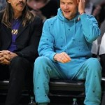 Anthony Kiedis 2010 flea blue tracksuit lakers game