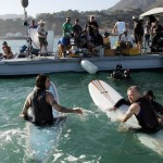 moonman pranks Flea and anthony kiedis on surfboards with barracuda