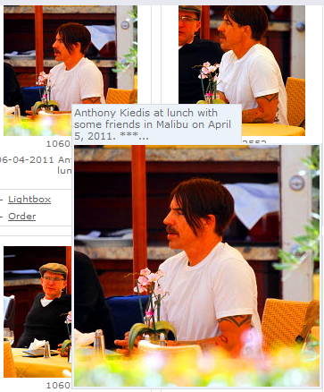 Anthony Kiedis having lunch with friends