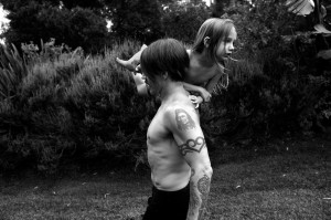 anthony kiedis playing with everly bear