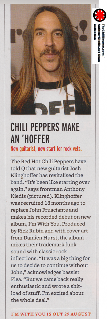 red hot chili peppers vocalist Anthony Kiedis talks about new album
