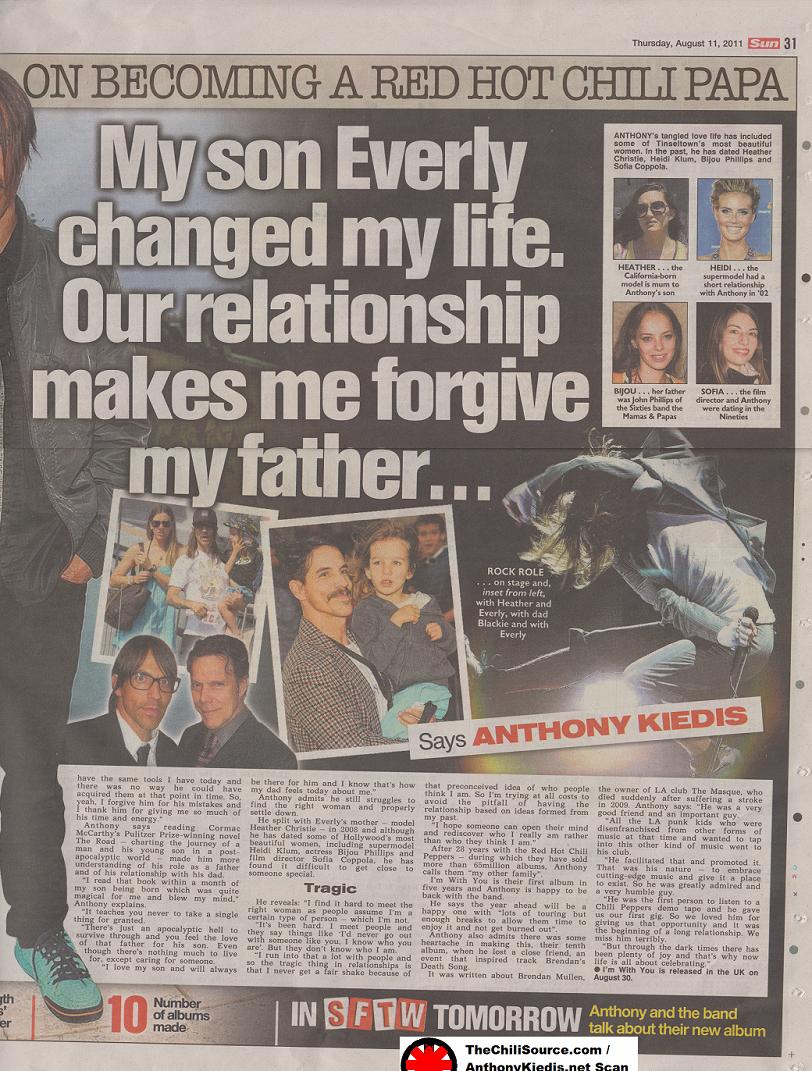 11/2011 August 11th The Sun (UK Newspaper) | Anthony Kiedis net