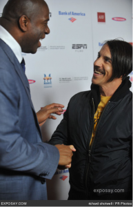 Anthony Kiedis meet Magic Johnson at premier of The Announcement
