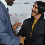 Anthony Kiedis with Magic Johnson The Announcement movie premier