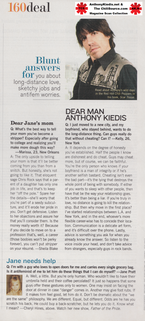 letter in agony aunt column to Anthony Kiedis RHCP