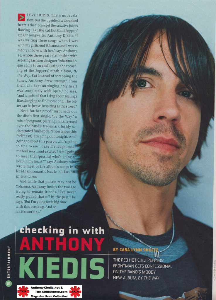 anthony kiedis photo talking about By The Way and relationship with Yohanna Logan