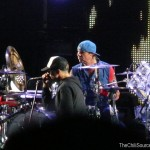 anthony kiedis on stage live with Red Hot Chili Peppers England 2012