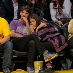 anthony kiedis new girlfriend asleep at LA Lakers game