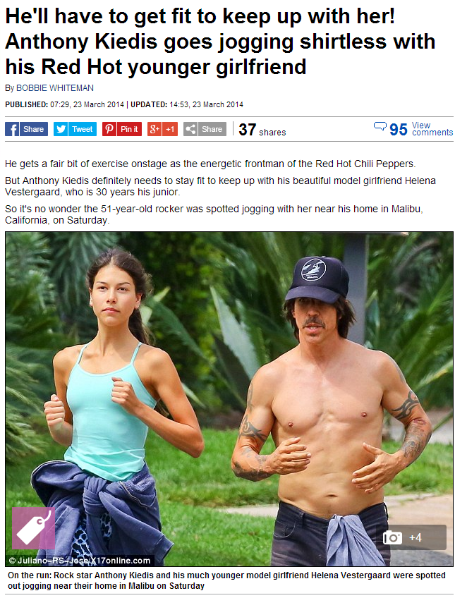 Anthony Kiedis and Helena  Vestergaard jogging near his home in Malibu
